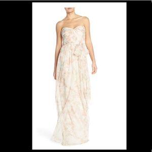 Jenny Yoo Nyla Floral Print Strapless Chiffon Gown